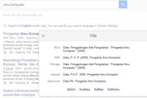 mencari daftar pustaka di google scholar