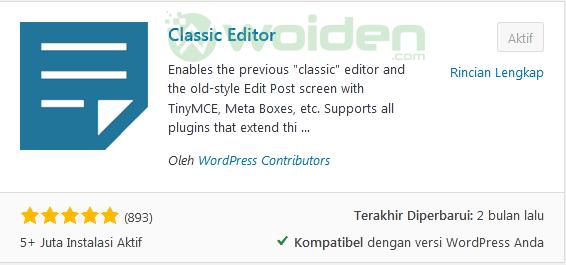 Mengubah Editor WordPress ke Classic Mode