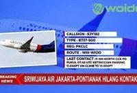 Pesawat Sriwijaya Jatuh Hilang Kontak, Jakarta Pontianak